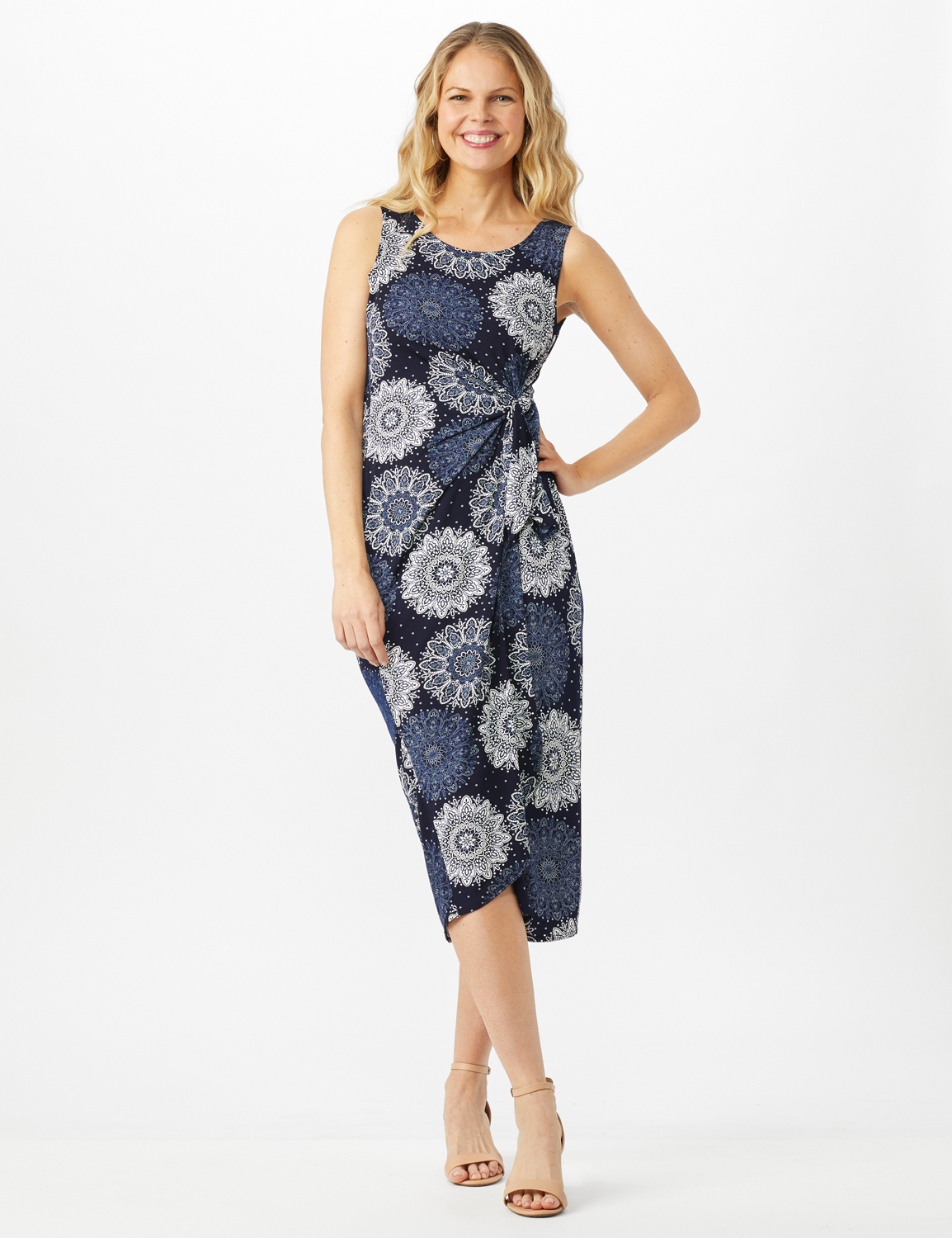 Sleeveless Side Tie Faux Wrap Medallion Print Dress -Navy - Front