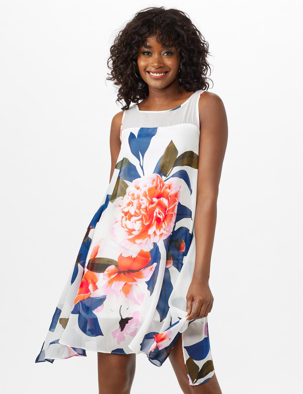 Sleeveless Chiffon Big Flower Illusion Neck Dress - Ivory/Blue/Blush - Front