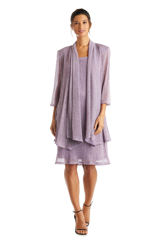 2 Pcs Flyaway Metallic Pleat Jacket Dress -Magnolia - Front