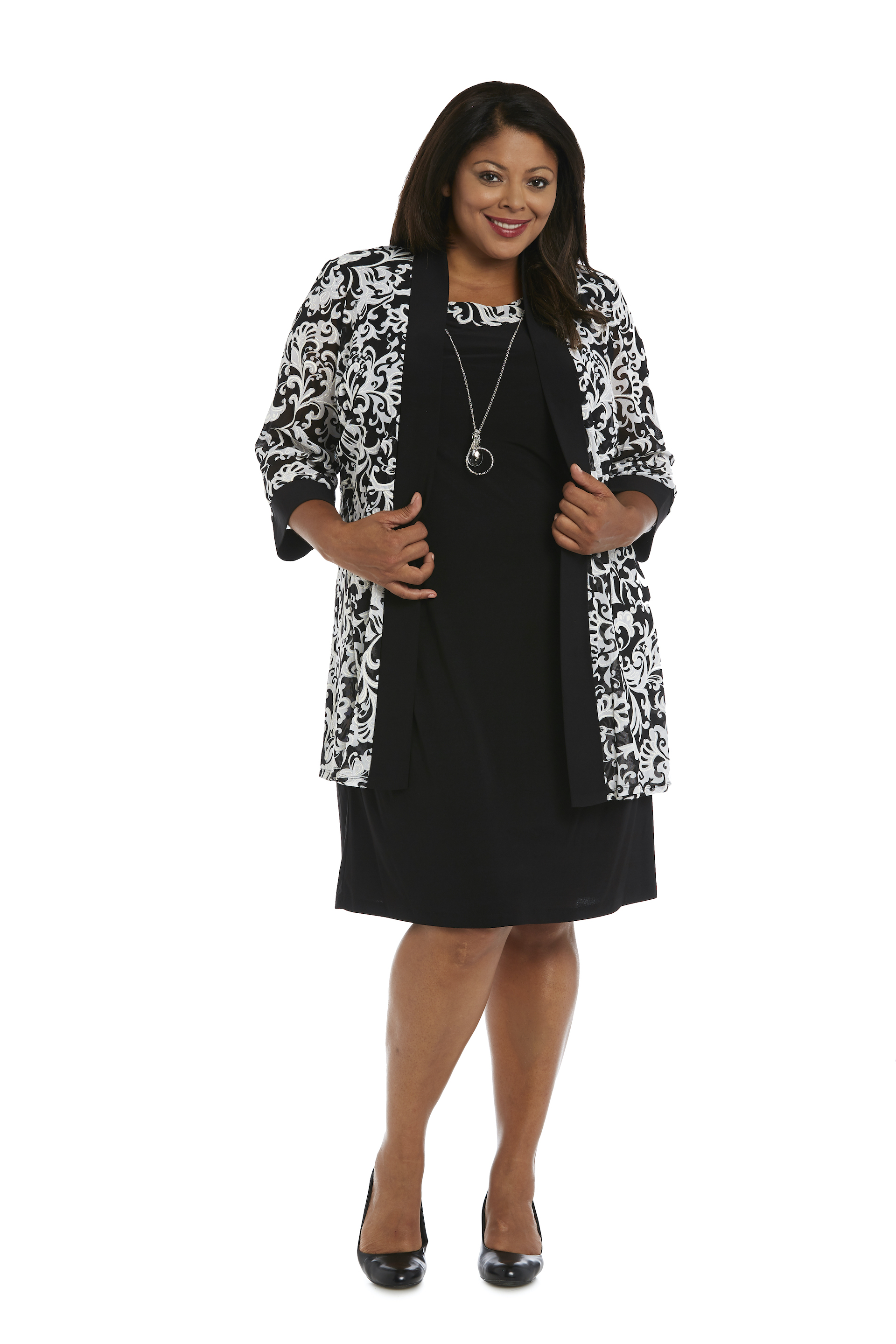 Scroll Mesh  Jacket with Sheath Dress -Black/White - Front