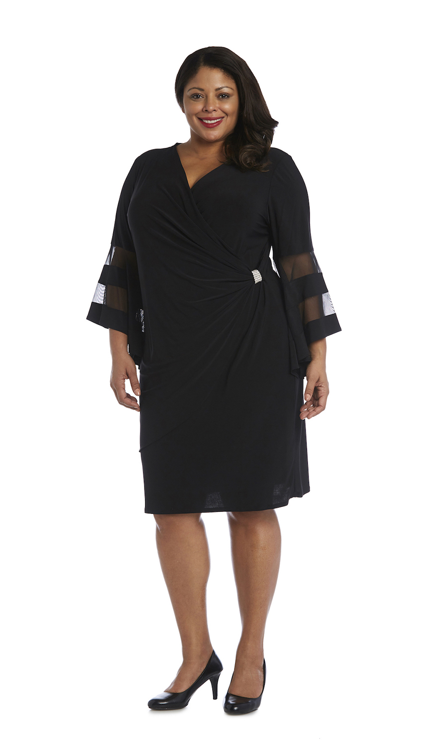 Illusion Bell Sleeve Dress with Rush Detail at Waist - Plus - Black - Front