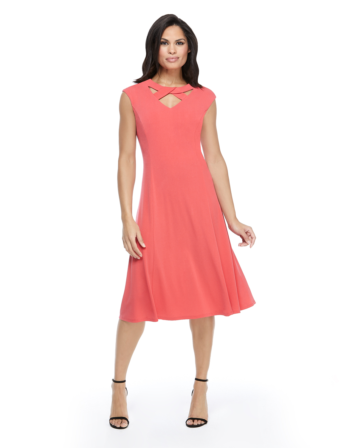 Twist Neck Jersey Dress - Coral - Front