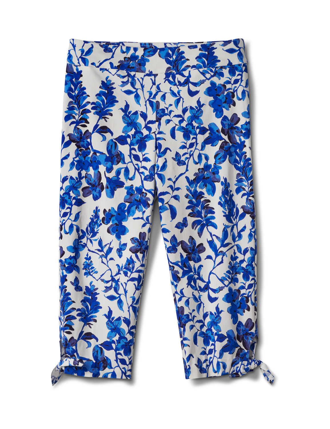 Printed Pull on Pants Tie Hem Capri -Blue Floral - Front