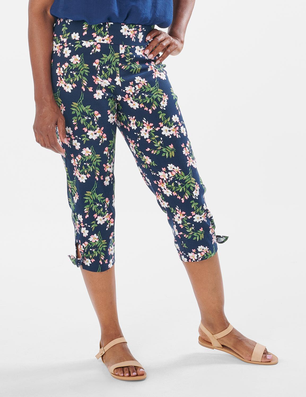 Printed Pull on Pants Tie Hem Capri -Navy Bouquet - Front