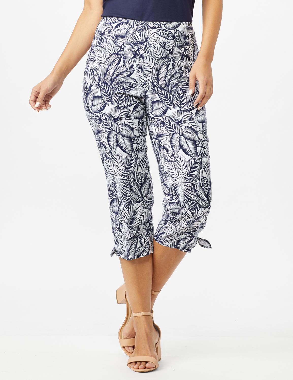 Printed Pull on Pants Tie Hem Capri -Navy/White - Front