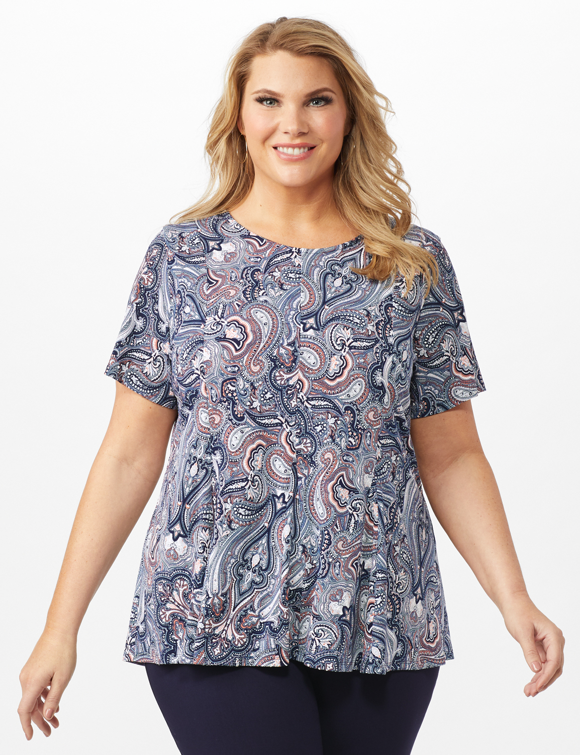 Puff Print Fit and Flare Knit Top - Plus -Navy - Front