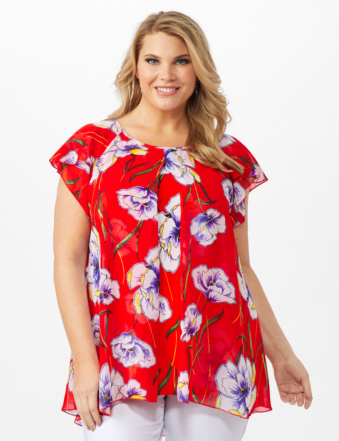 Floral Fly Away Top -Red - Front