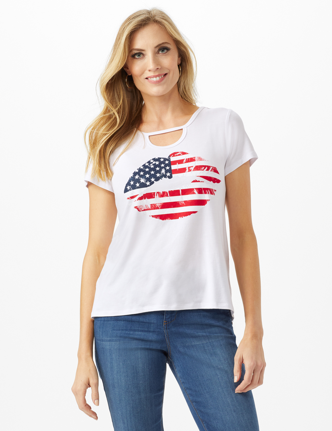 Lips Hi-Lo Knit Screen Tee - White - Front