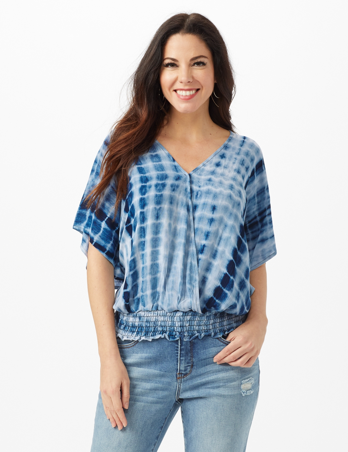 Tie Dye Wrap Woven Top -Navy - Front