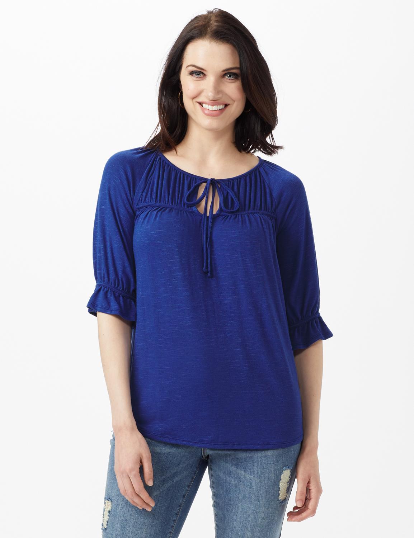 Ruffle Trim Peasant Knit Top - Misses -Blue - Front