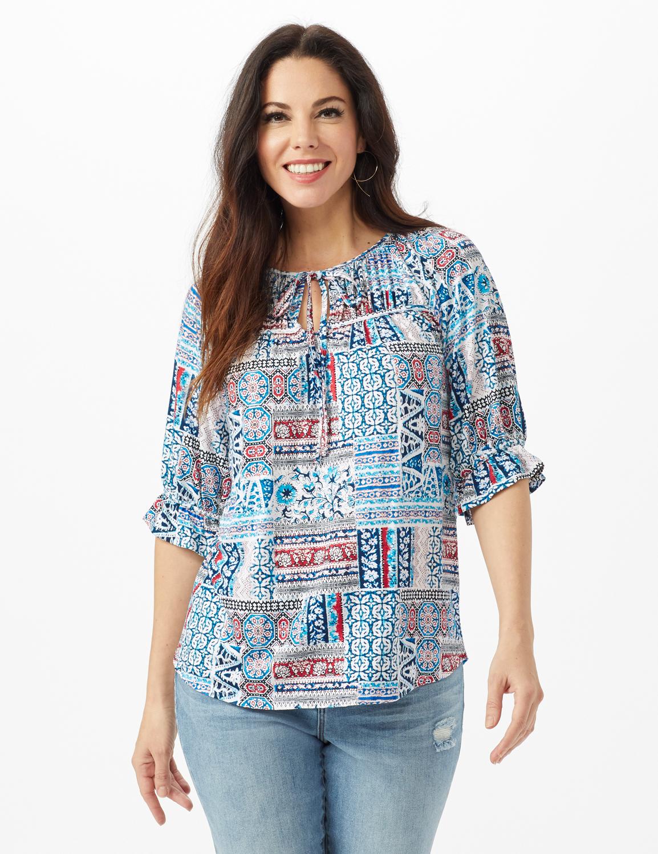 Patchwork Peasant Knit Top - Misses - Blue - Front