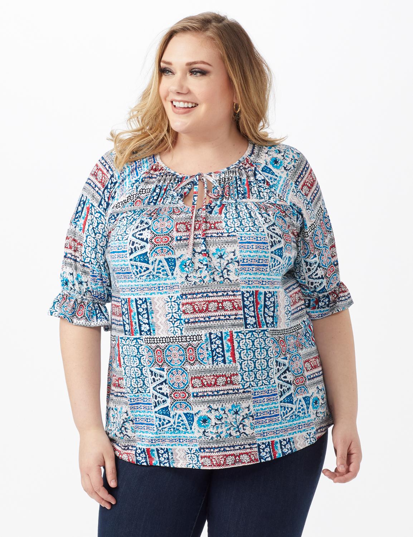 Patchwork Peasant Knit Top - Plus -Blue - Front
