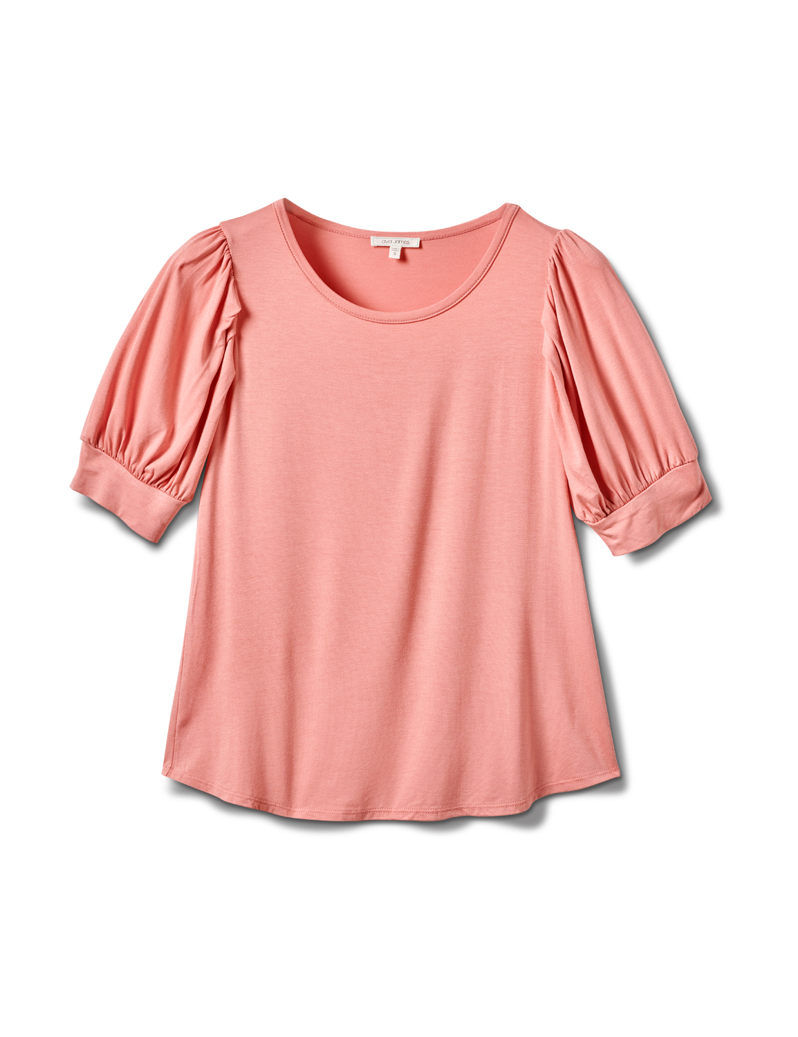 Scoop  Puff Sleeve Knit Top -Dusty Pink - Front