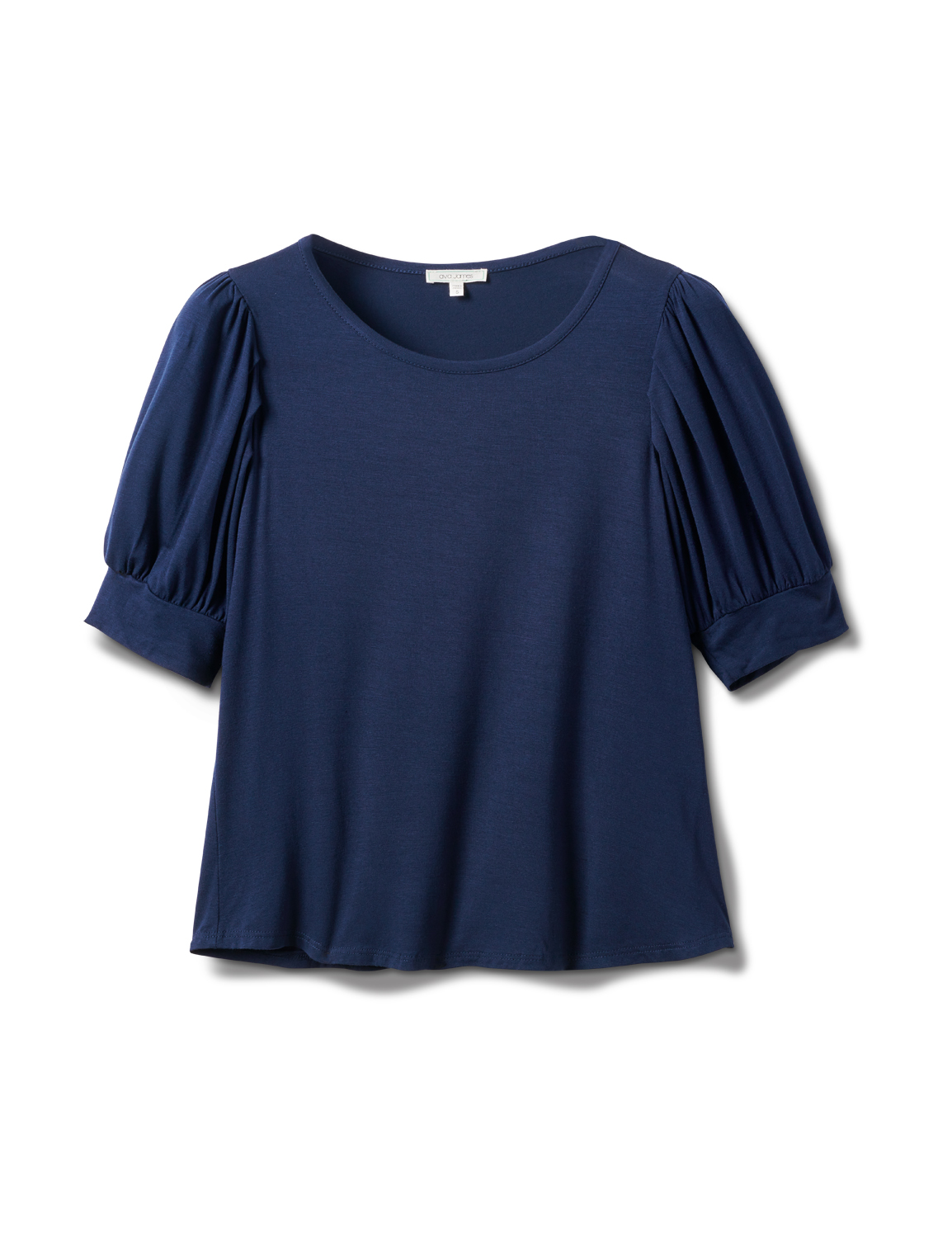 Scoop  Puff Sleeve Knit Top -Navy - Front