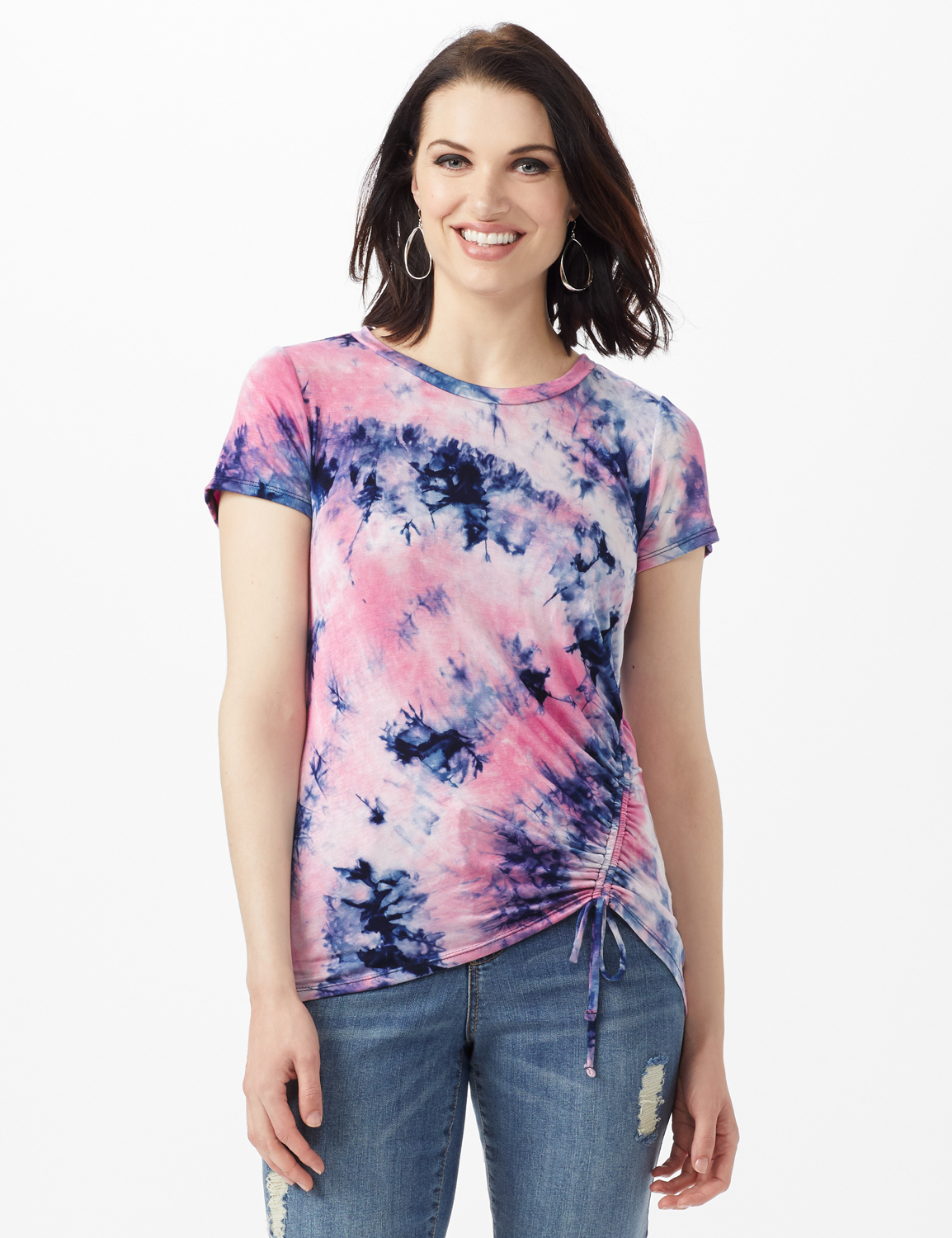 Tye Dye Ruched Tie Front Top - Misses -Pink - Front