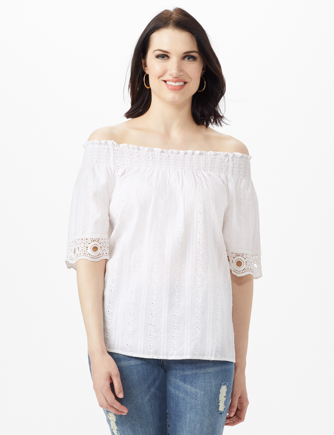 Eyelet Woven Peasant Top -White - Front