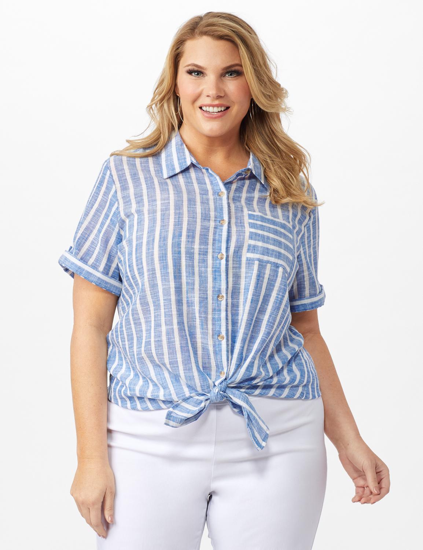 Dressbarn Lurex Stripe 1 Pocket Shirt - Plus -Blue - Front