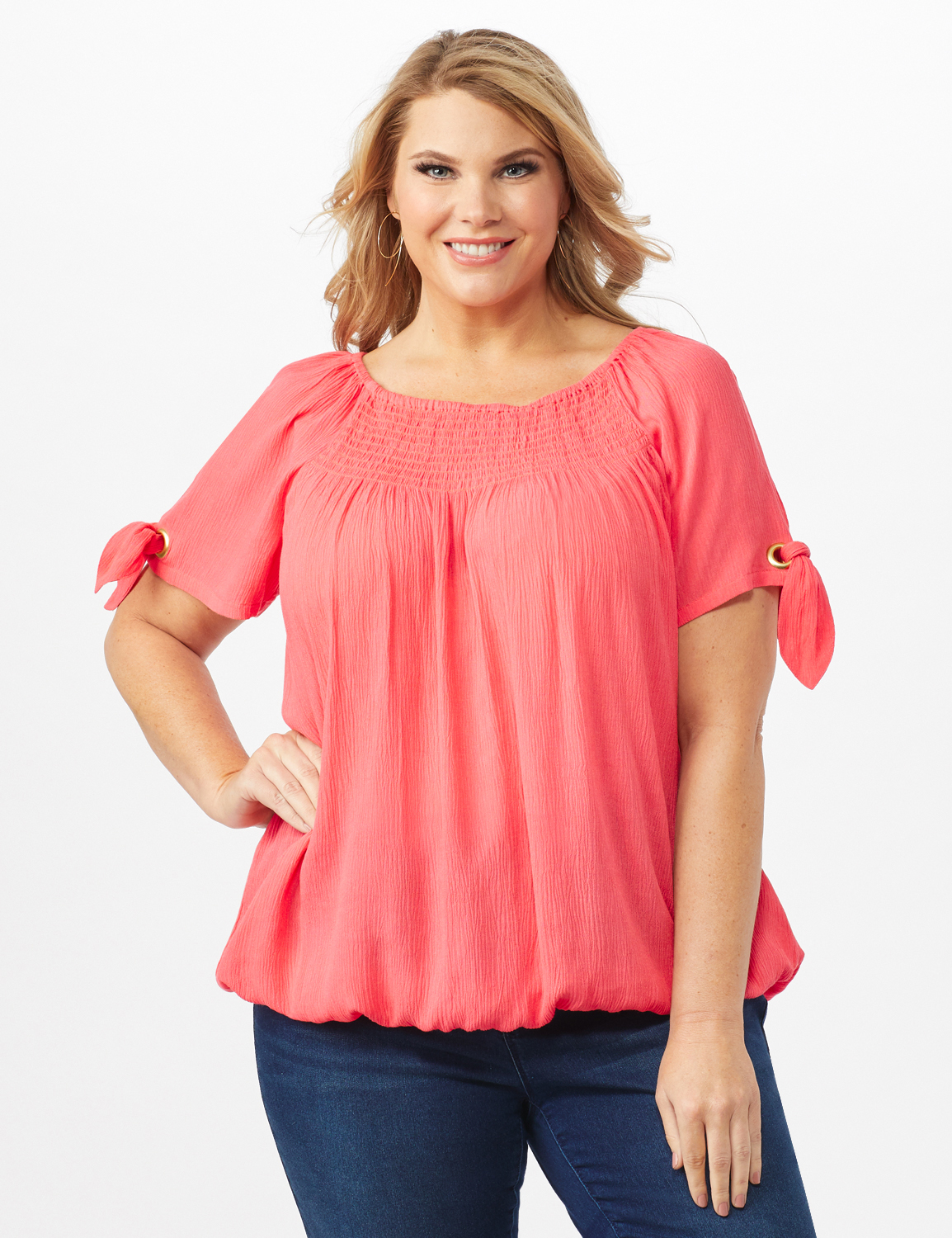 Smocked Peasant Grommet Tie Sleeve Top - Plus -Calypso Coral - Front