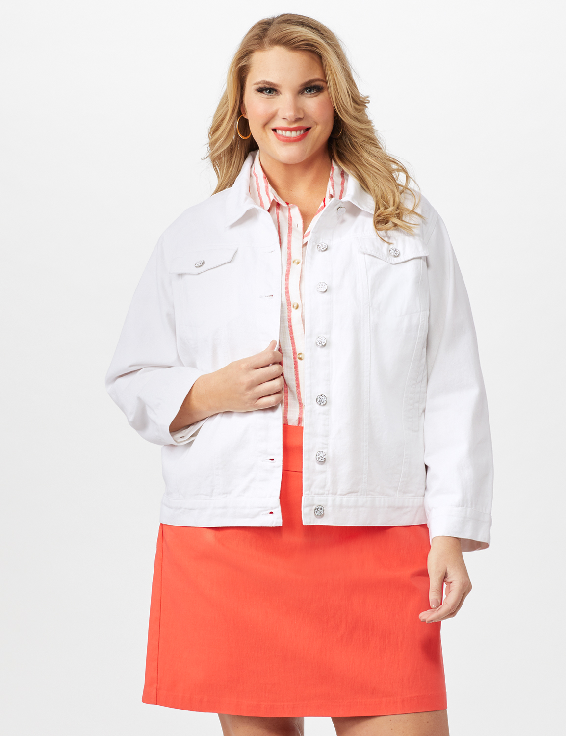 Jeans Jacket With 2 Chest Pockets , Button Front, Side Seams -White - Front