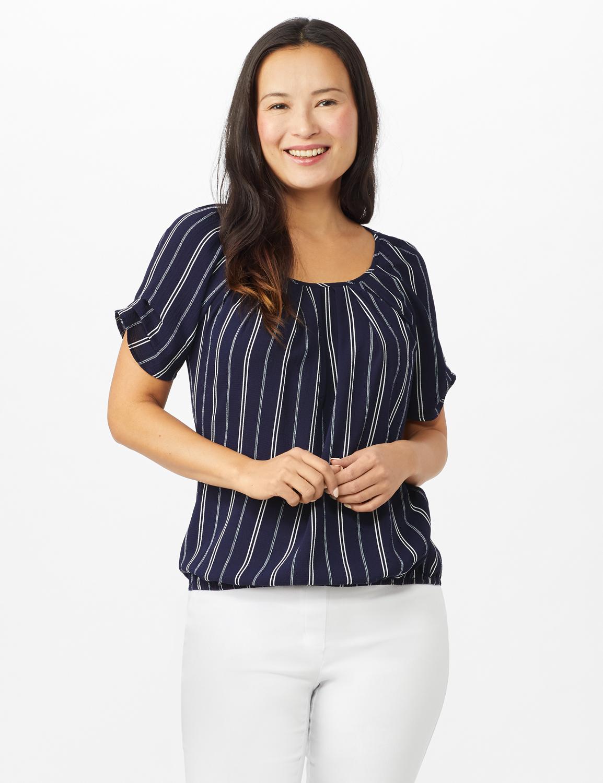 Stripe Texture Bubble Hem Blouse - Navy/White - Front