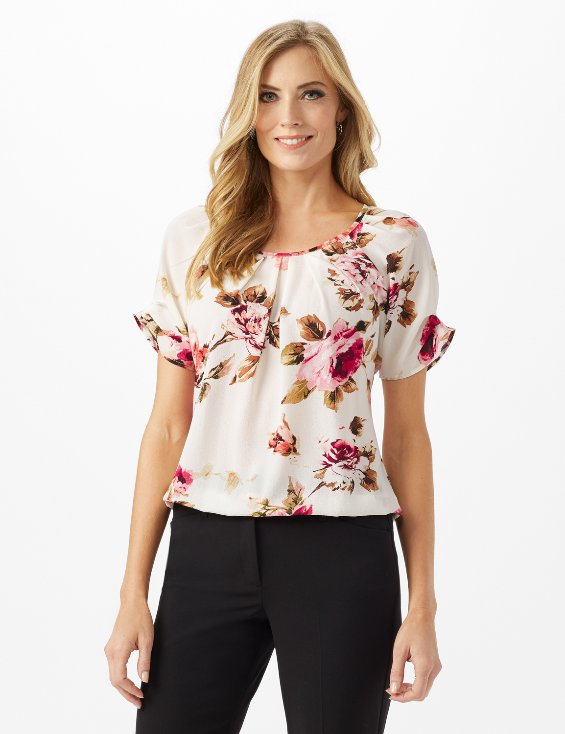 Floral Pleat Neck Bubble Hem - Misses - Beige - Front