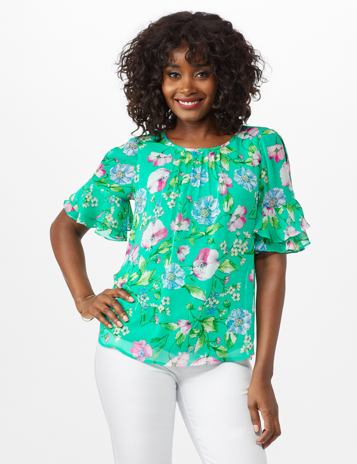 Floral Ruffle Sleeve Blouse -Green - Front