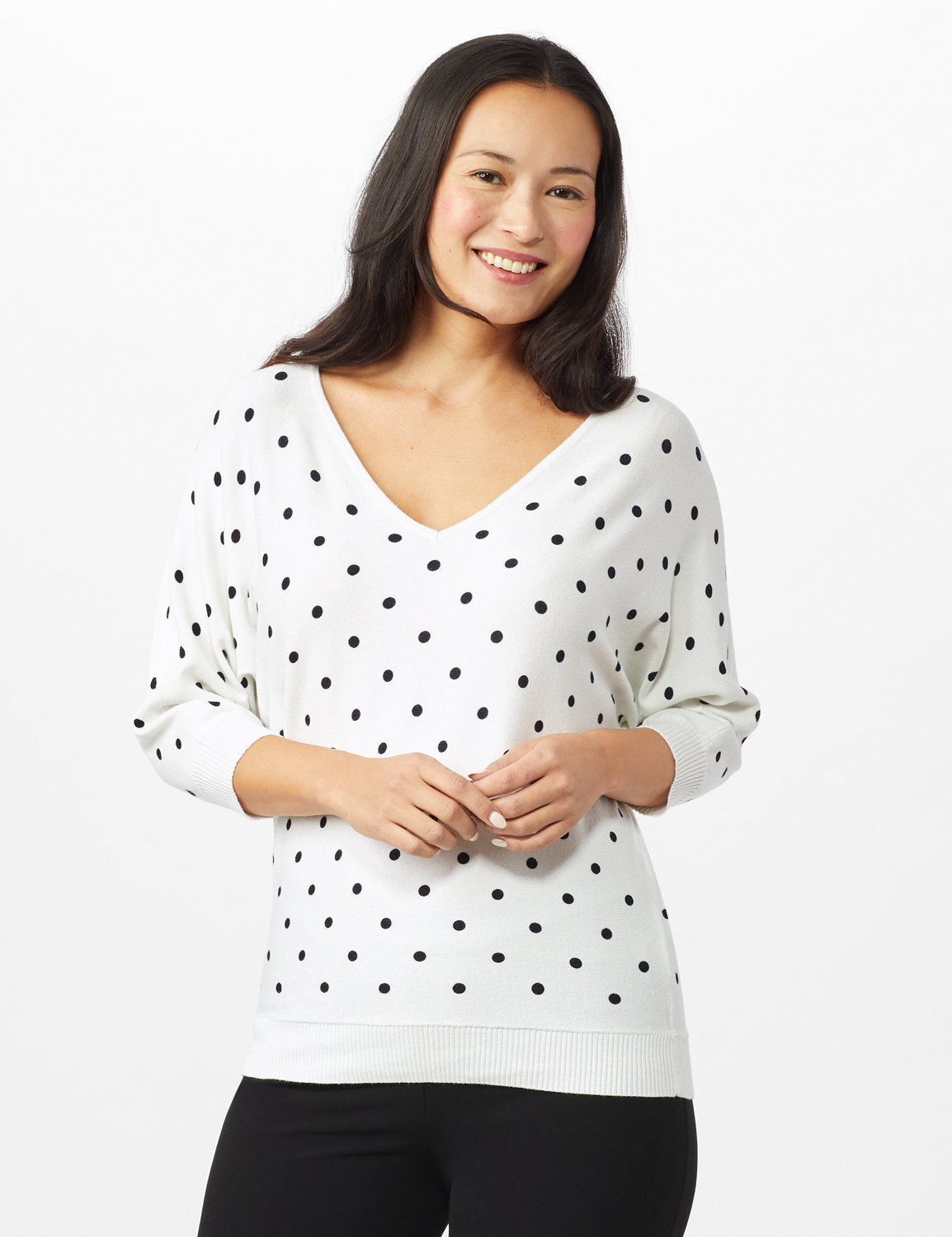 Dot Sweater -White/ Veranda/ Nightlife - Front