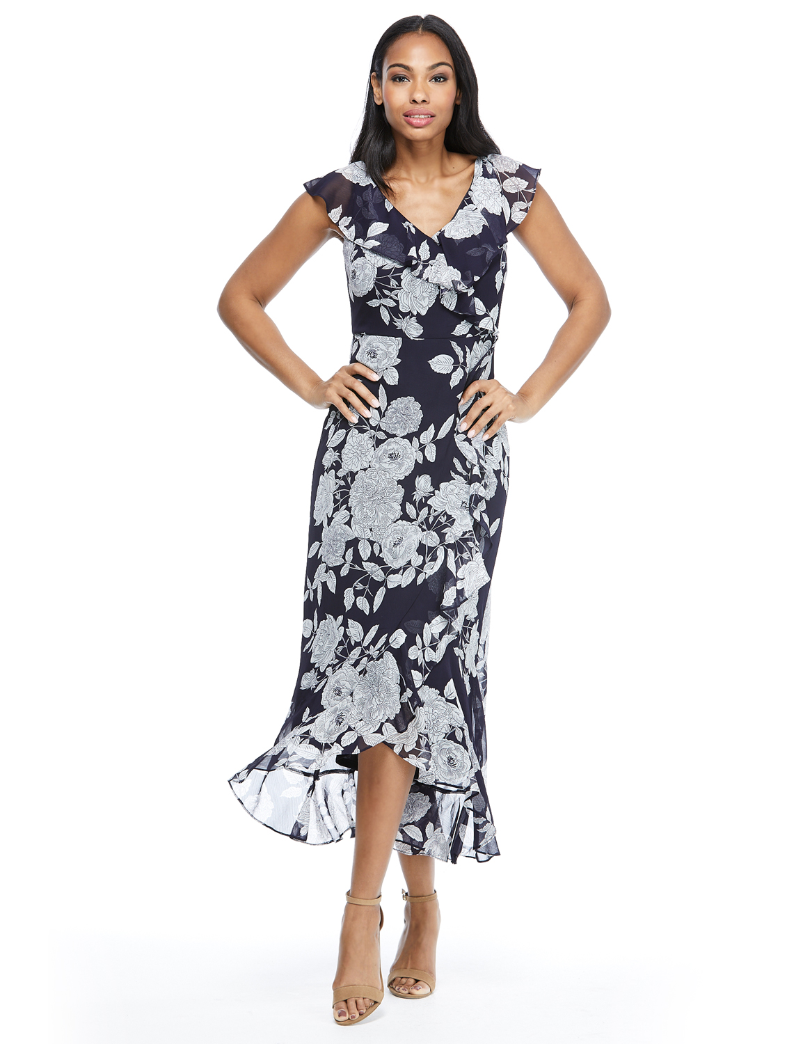 Floral Flutter Sleeve Yoryu Chiffon Wrap Dress - Black/White - Front