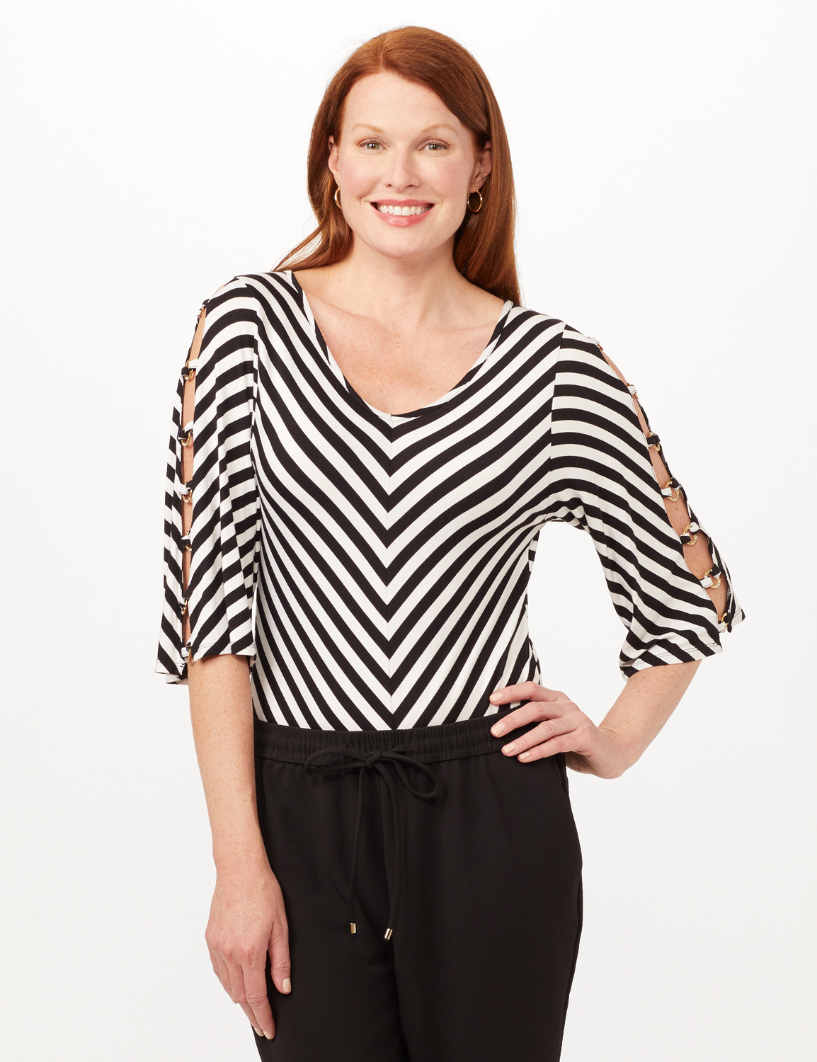 Lattice Sleeve Mitered Stripe Knit Top -Black/White - Front
