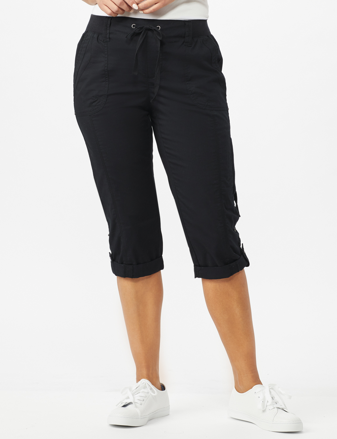 Utility Knit Waist Pull on Capri Pants - Ebony Black - Front