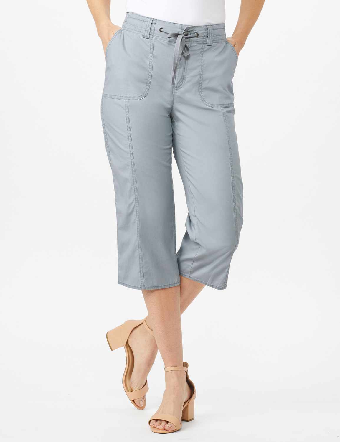 Utility Capri Pants with Drawstring Waist -Shy Grey - Front