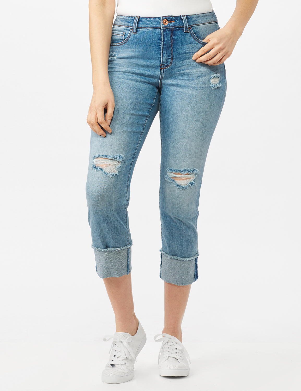 Authentic Stretch Straight Leg Denim Pants with High Fray Cuff - Robin Wash Blue - Front
