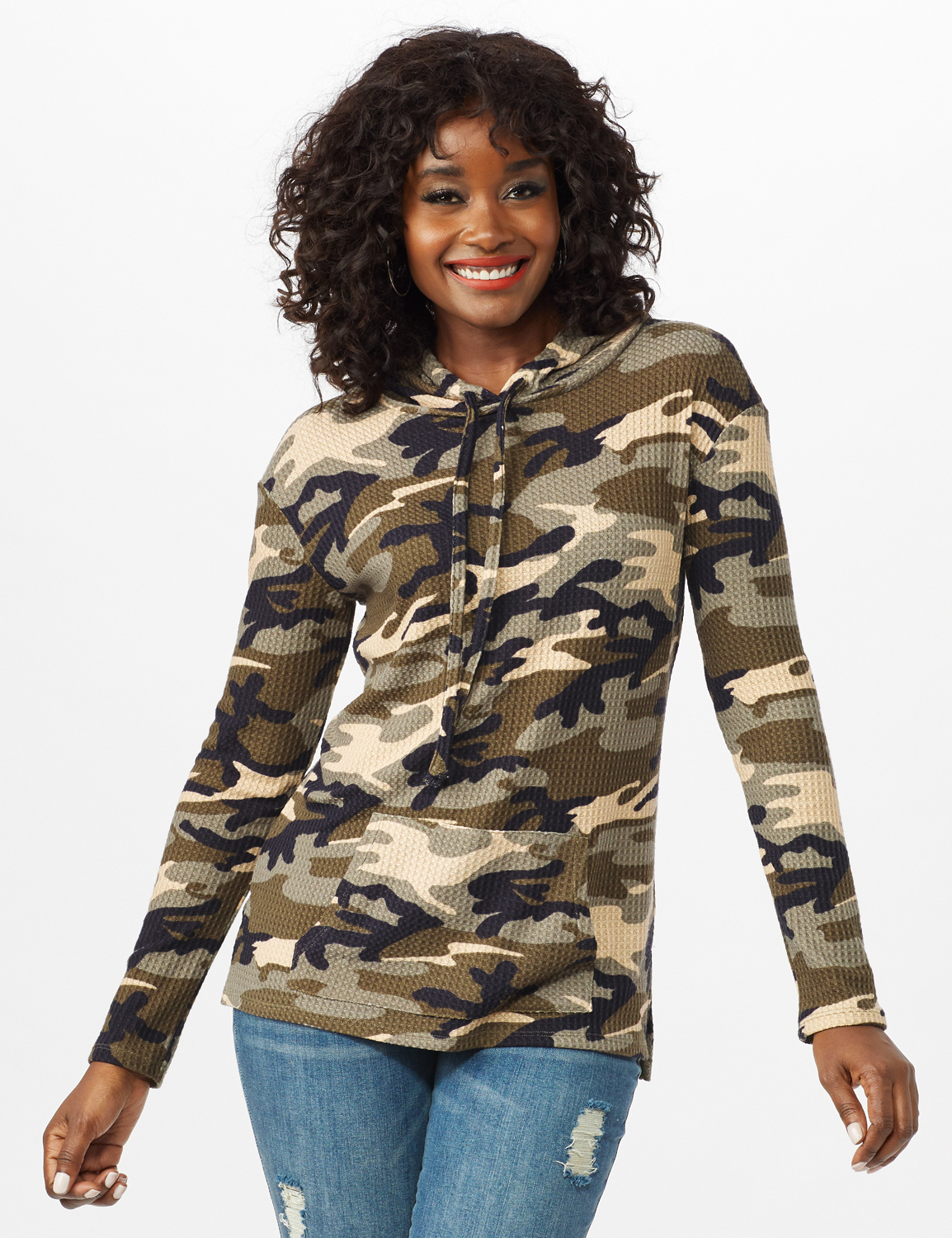 Camo Thermal Hoodie - Olive - Front