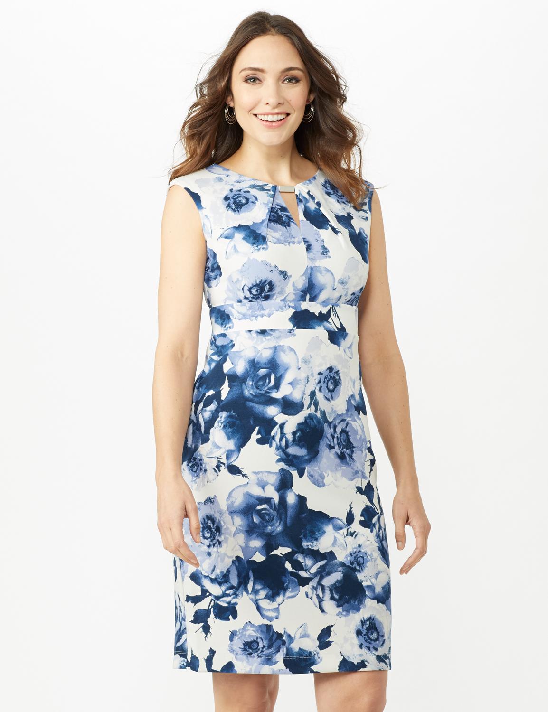 Sleeveless Keyhole Neck with Bar Floral Sheath Scuba Dress - Ivory/China Blue - Front