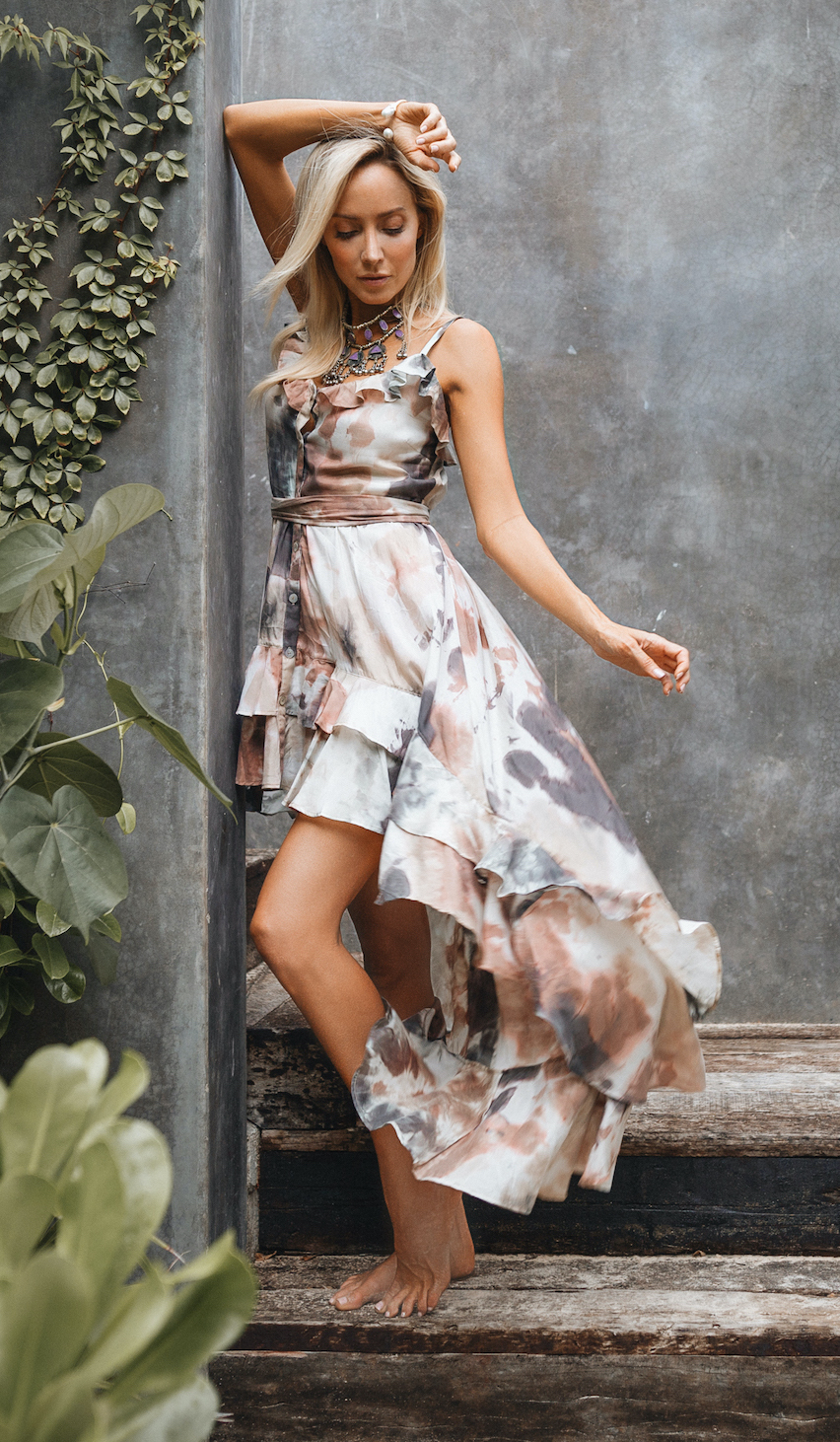 Earth Tie-Dye High-Low Dress - Earth/Gray - Front