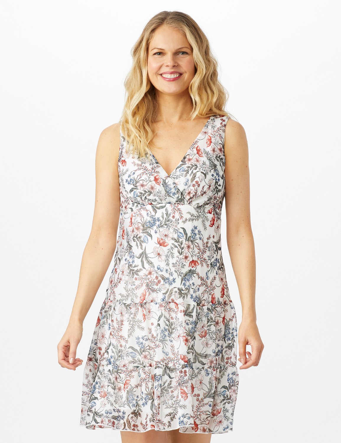 Sleeveless Empire Waist Double Flouce Dress -Ivory - Front