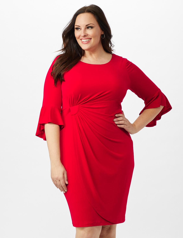 3/4 Flutter Sleeve Wrap Dress - Apple Red - Front