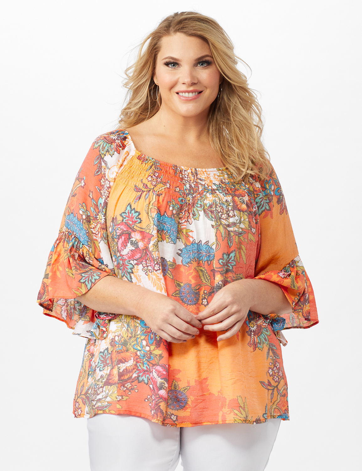 Textured Flounce Sleeve Bright Floral Top -Multi - Front