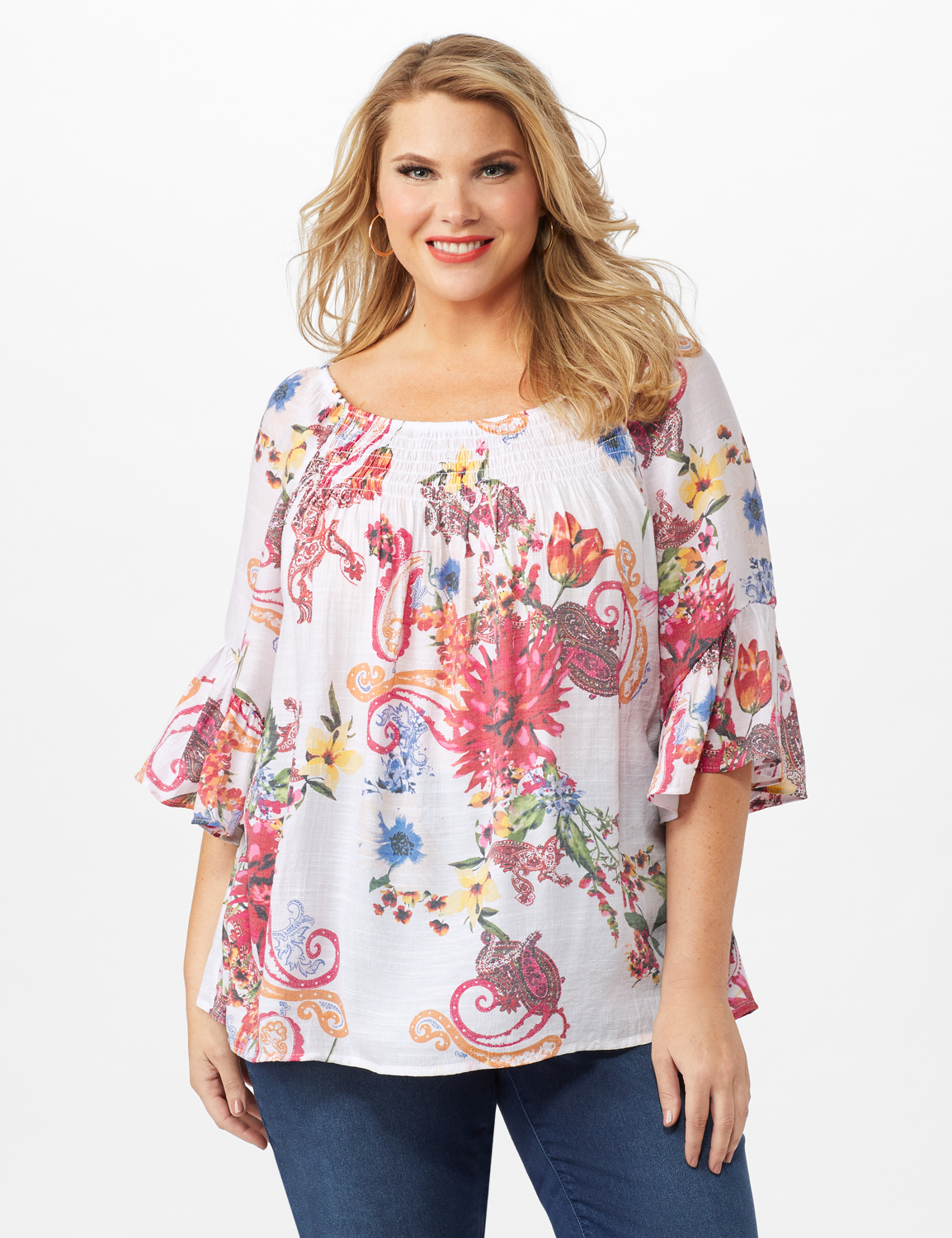 Textured Flounce Sleeve Floral/Paisley Top -Multi - Front