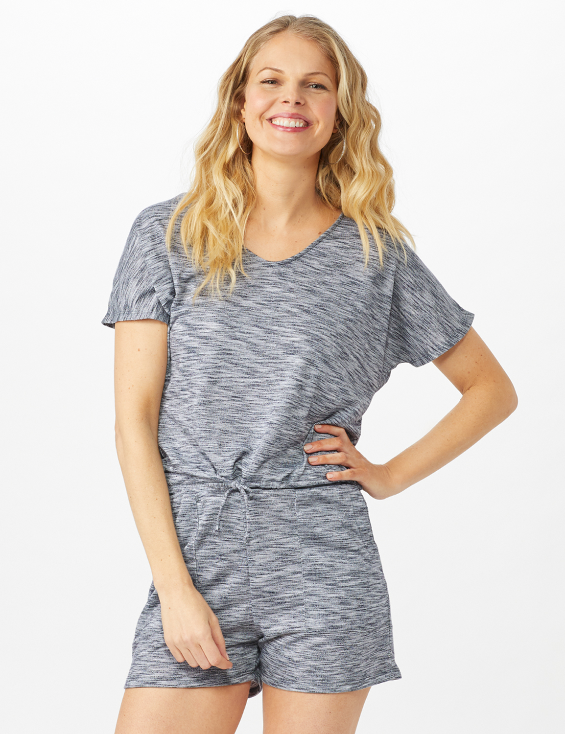 Space Dye French Terry Knit Top - Indigo - Front