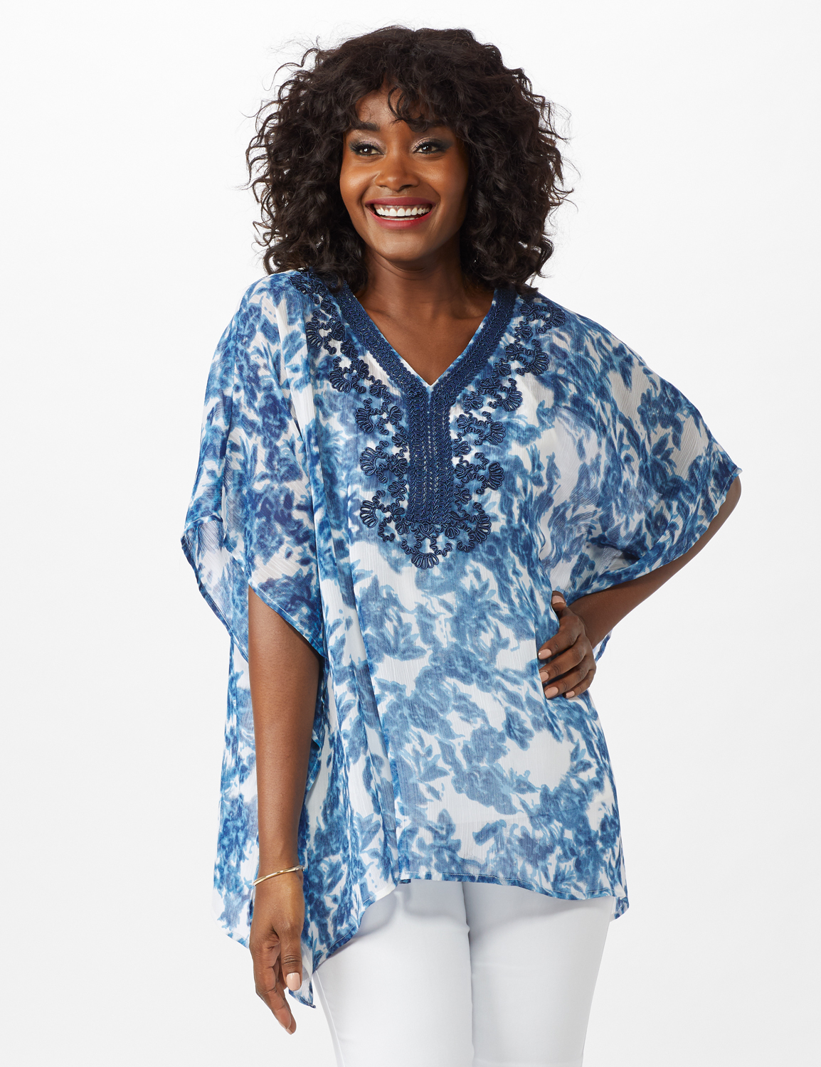 Crochet Trim Woven Tunic -Blue - Front
