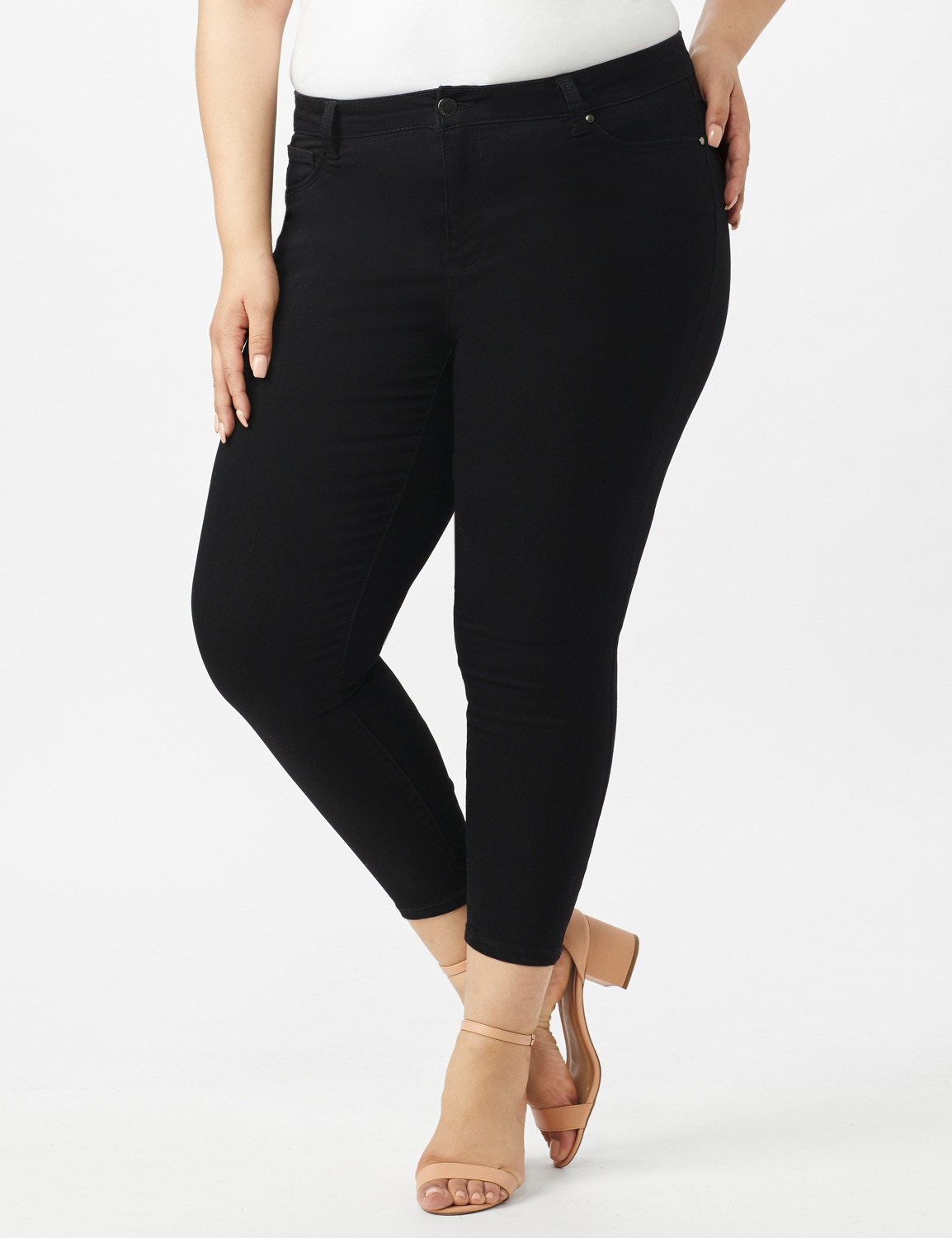 5 Pocket Skinny Ankle Length Jeans -Black - Front