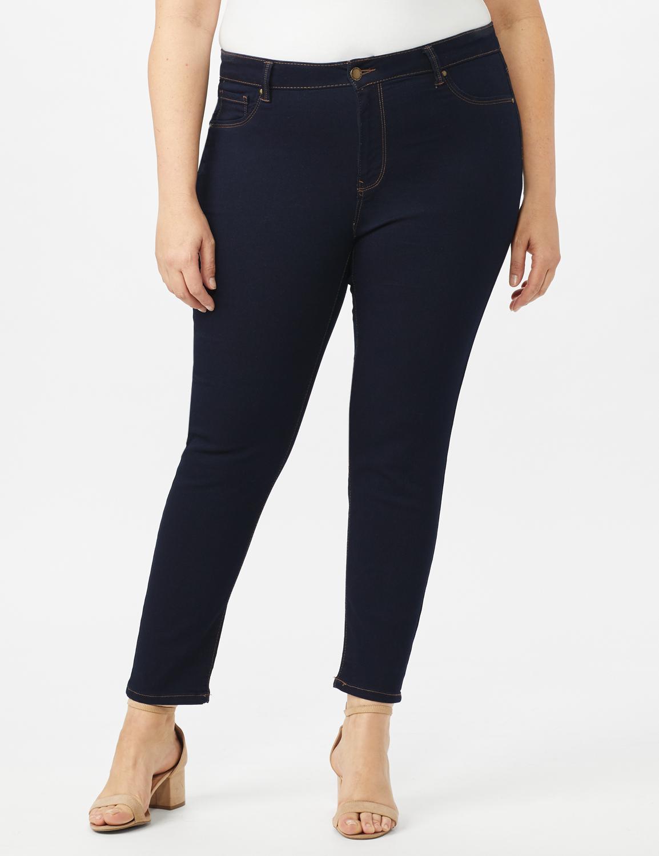 5 Pocket Skinny Ankle Length Jeans -Dark Wash - Front