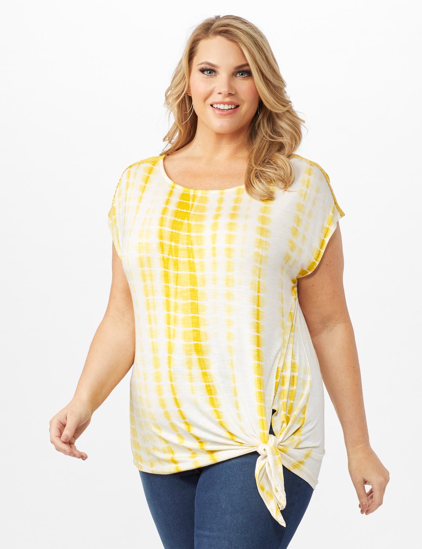 Side Tie Crochet Trim Tie Dye Top -Yolk Yellow - Front