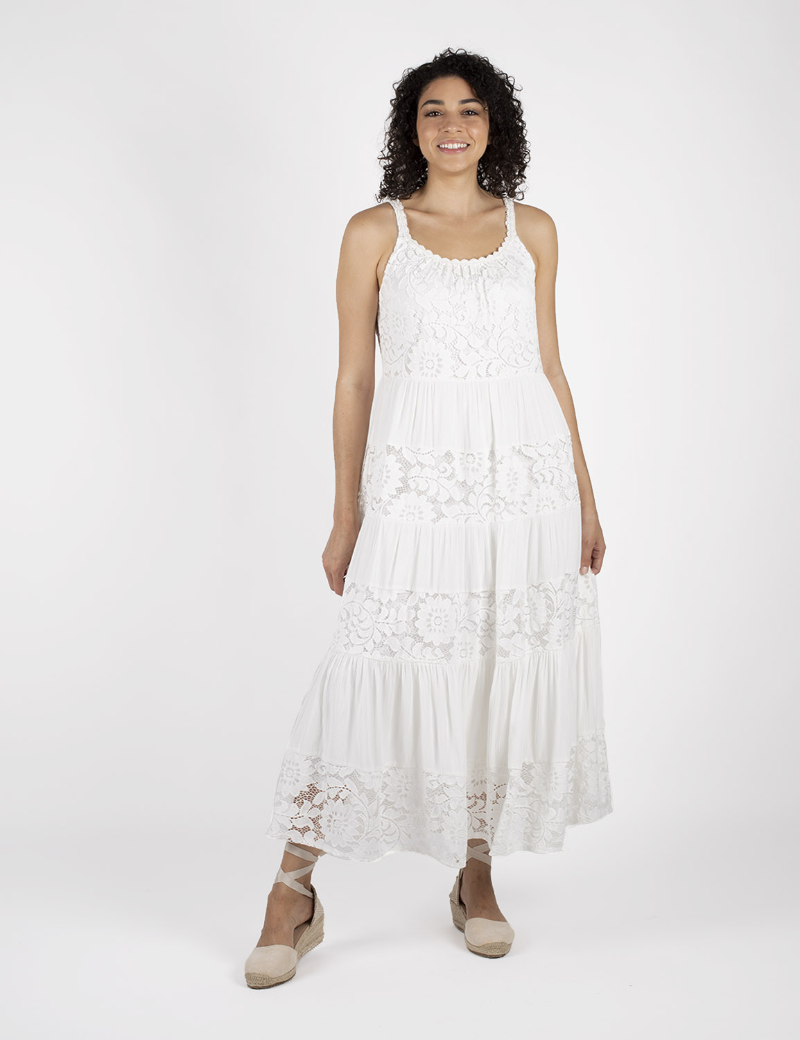 Mixed  Lace Tiered Midi Dress -White - Front