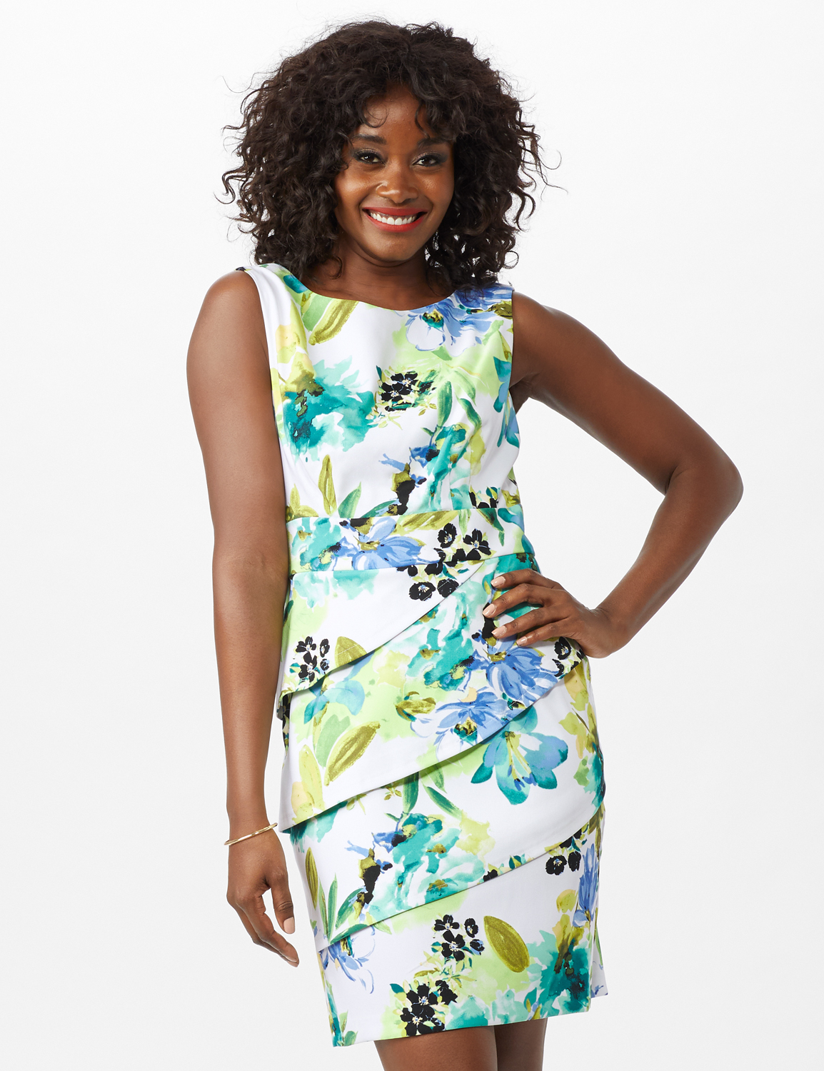 Sleeveless Floral Asymmetrical Tiered Dress -Seafoam - Front