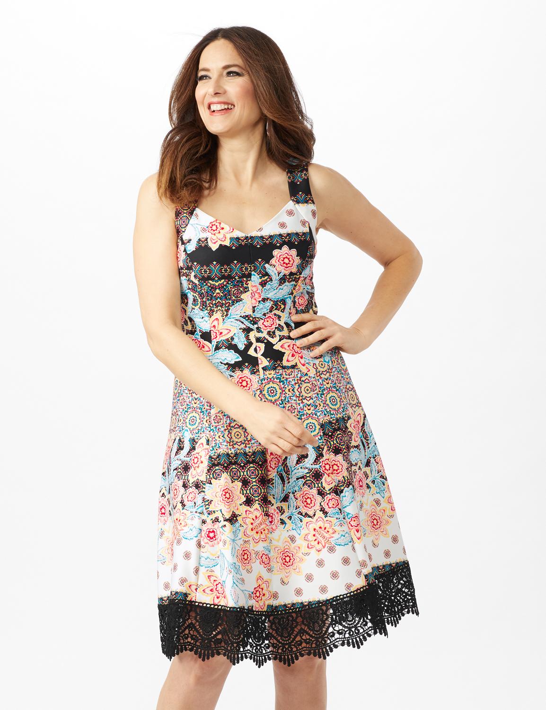 Floral Stripe Scuba Dress with Lace Hem - Black/Multi - Front
