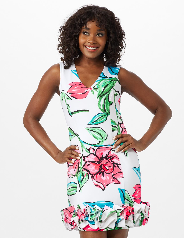 V-Neck Large Floral Sheath Dress with Ruffle Hem - Ivory Multi - Front