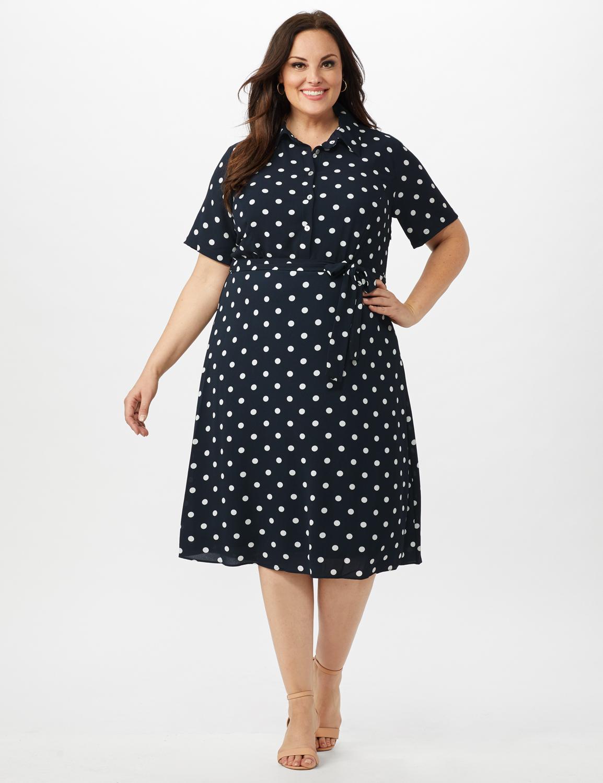 Short Sleeve Dot Shirt Dress with Self Belt -Navy/Ivory - Front