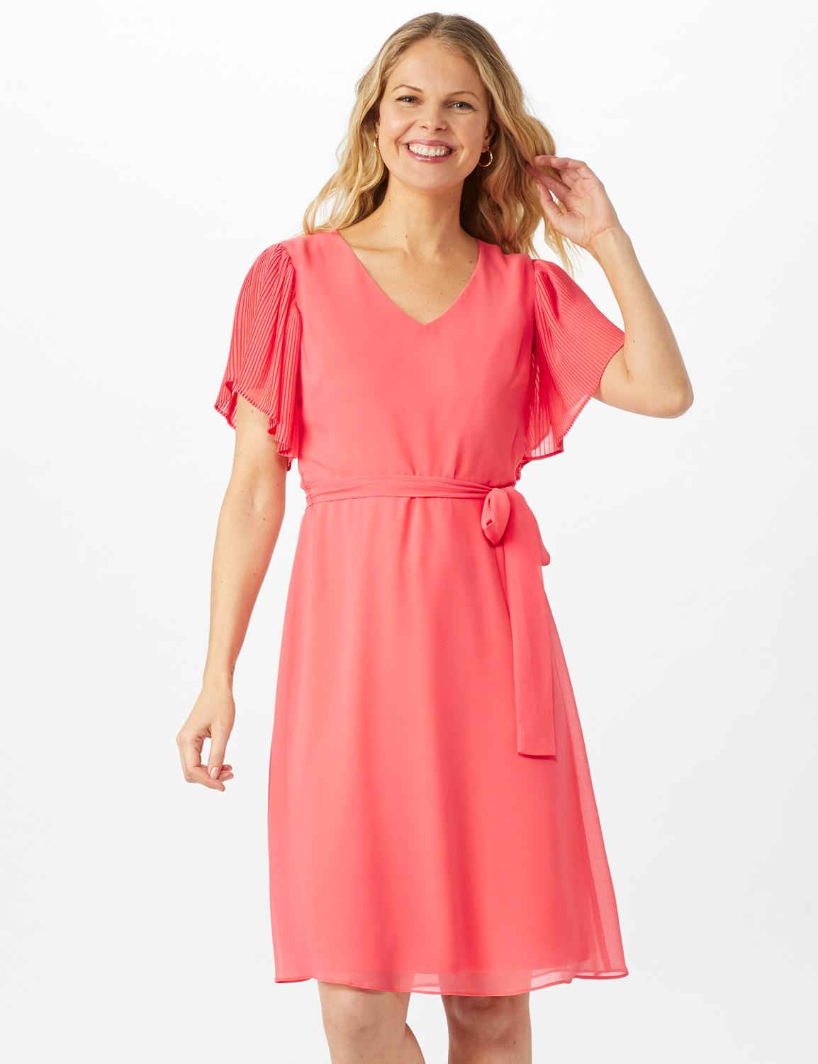 Chiffon Short Pleated Sleeve Dress with Soft Self Fabric Belt - Coral - Front